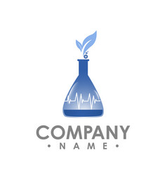 lab logo design leaf symbol in natural research vector image