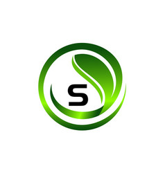 leaf initial s logo design template vector image