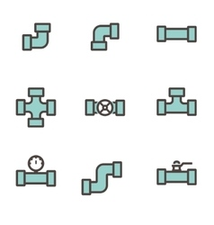 line flat pipe fittings icon set vector image