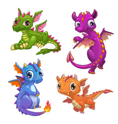 Little dragons set vector