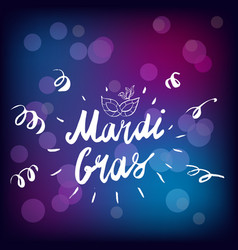 mardi gras hand drawn lettering and mask for vector image