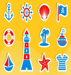 Marine and pirate icons vector