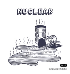 Metal barrels with nuclear waste vector