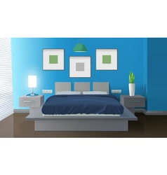 Modern Bedroom Blue Interior vector