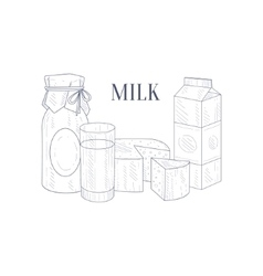Natural Milk Products Hand Drawn Realistic Sketch vector