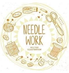 Needle work design vector