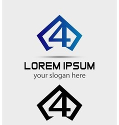 Number 4 logo icon design template elements vector