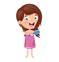 of kid brushing hair vector image