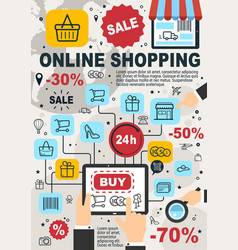 Online shopping and web store sale poster vector