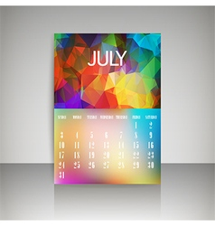 Polygonal 2016 calendar design for JULY vector image