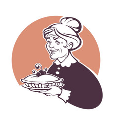 Portrait lovely grandmother and home made pie vector