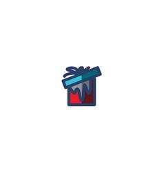 present box icon winter template vector image