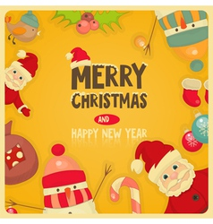 Retro Merry Christmas and New Years Card vector image