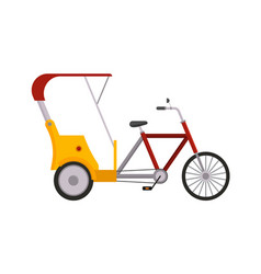 Rickshaw bike isolated taxi yellow tourism vector