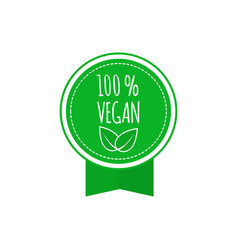 round vegan eco bio green badge with leaf vegan vector image