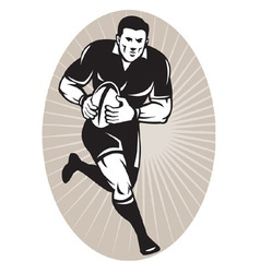 Rugby player wearing all black running with b vector