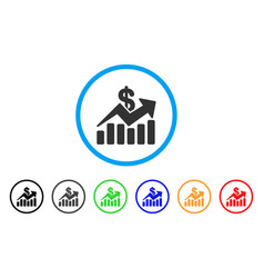 sales bar chart trend rounded icon vector image
