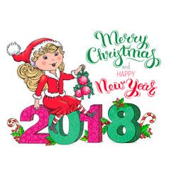 santa claus girl christmas and new year 2018 card vector image