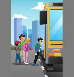 School children at school bus stop vector