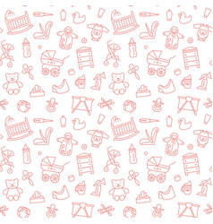 Seamless background with linear bacare symbols vector