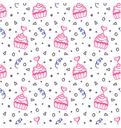 Seamless pattern with hand drawn sweet cupcakes vector