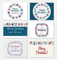 set of christmas greeting card vector image