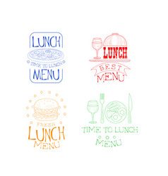set of sketch logos for cafe or restaurant vector image
