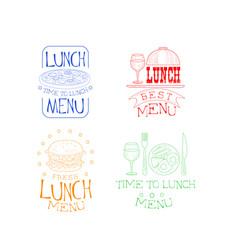 set of sketch logos for cafe or restaurant vector image