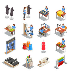 Sewing factory isometric icons set vector