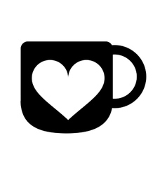 silhouette cup coffee love heart hot vector image
