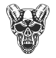 Skull horned demon vector