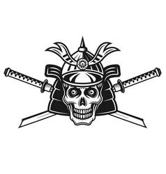 skull japanese samurai and two swords vector image