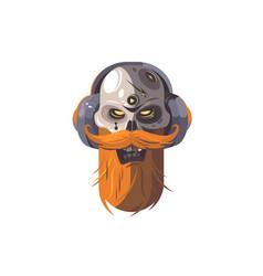 Skull with beard on headphone vector