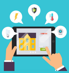 smart house home control application concept vector image