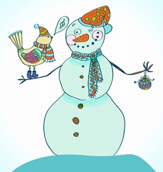 snowman and bird vector image vector image