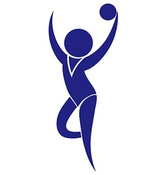 Sport icon for gymnastics with ball vector