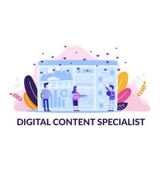 Square flat banner digital content specialist vector