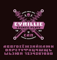 Stencil plate sanserif cyrillic font and numeral vector