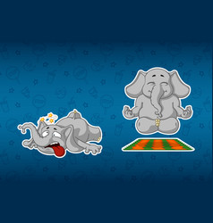 Sticker elephantshe does yoga stumbled and fell vector