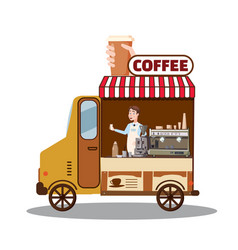 Street food truck van fast food delivery coffee vector