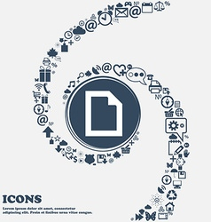 Text File document icon sign in the center Around vector image