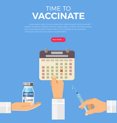 time to vaccinate concept vector image