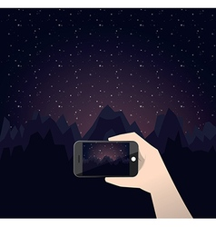 Travel photo night in mountains vector