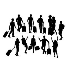 Traveler silhouettes vector