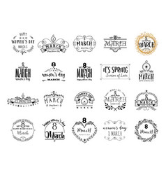 typography badge 8 march pattern printing vector image