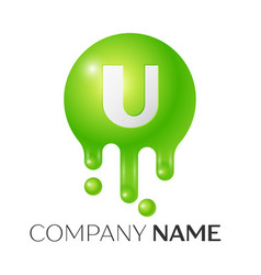 U letter splash green dots and bubbles letter vector