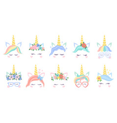 unicorn face various cute pony unicorns funny vector image