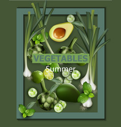 vegetables background green veggie vector image
