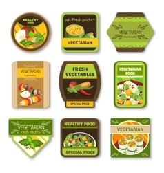 Vegetarian Food Colorful Emblems vector