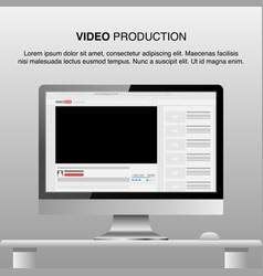 Video production video editor desk workspace vector